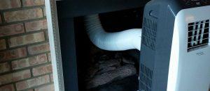 Wegwerken airco met slang